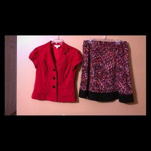 Red, white and black skirt set.